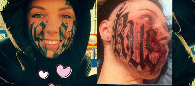 Woman Lets Boyfriend Tattoo His Name On Her Face In Bizarre Love